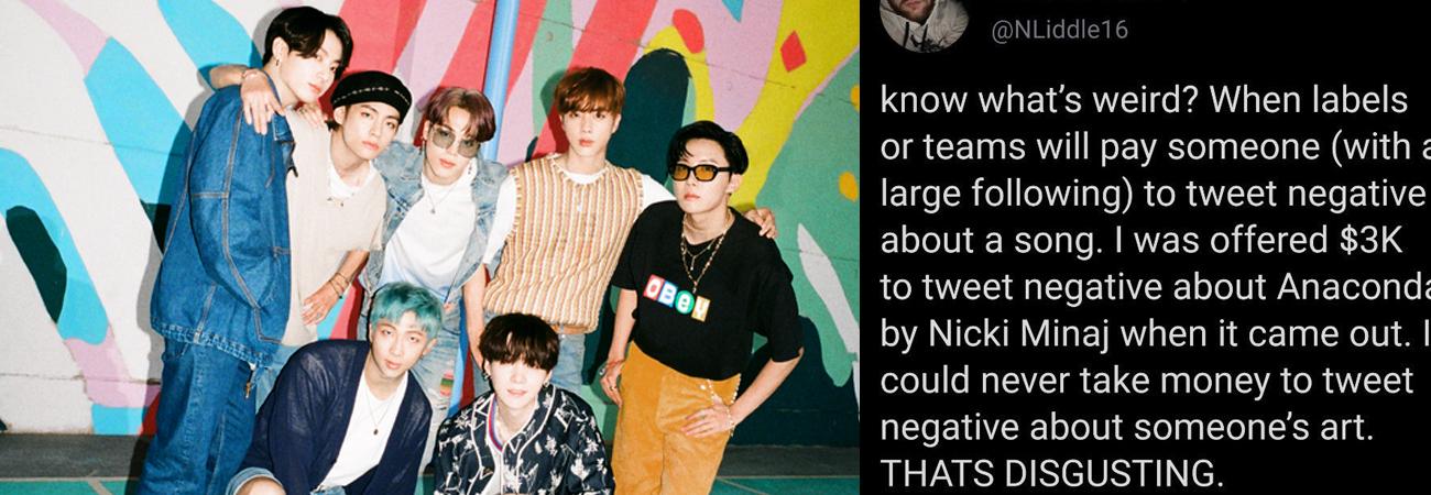 El periodista Nicholas Liddle expone enfurecido oferta para hablar mal de Dynamite de BTS