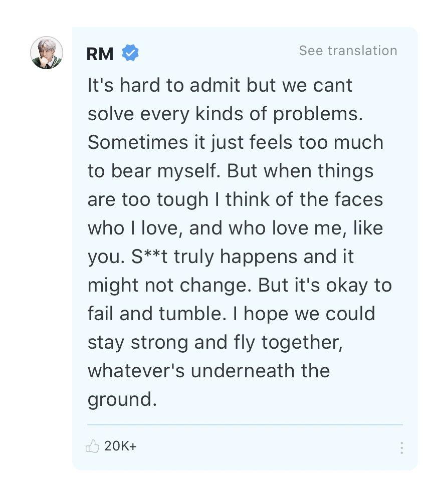 RM anima a un fan por Weverse, con un hermoso mensaje