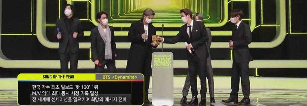 Dynamite de BTS gana canción del año en los MAMA 2020