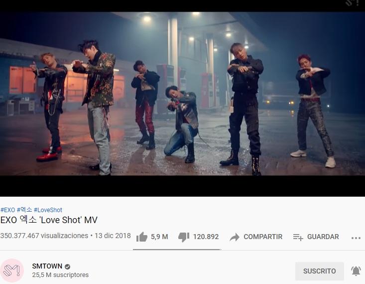 "Video musical ""Love Shot"" de EXO supera las 350 millones de visitas en YouTube"