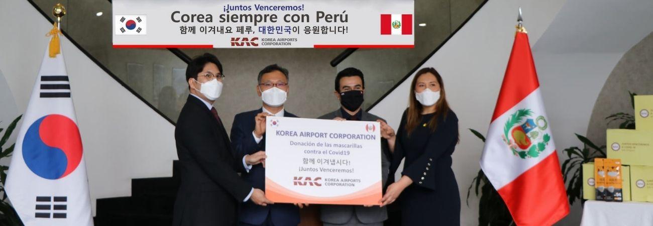 Corporación de Aeropuertos de Corea (KAC) dona 10 mil mascarillas KF94 a entidad pública de transporte de Perú