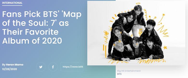 """Billboard: """"Map of the Soul 7"""" de BTS es elegido por los fans como el álbum favorito de 2020"""