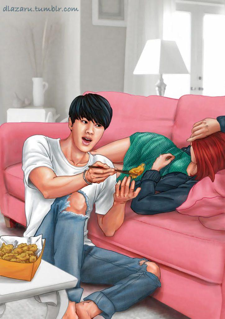 ¿Cómo sería salir con BTS? Parte1: Este Fan Art muestra como sería si fuera novia de RM, Suga, J-Hope y Jin