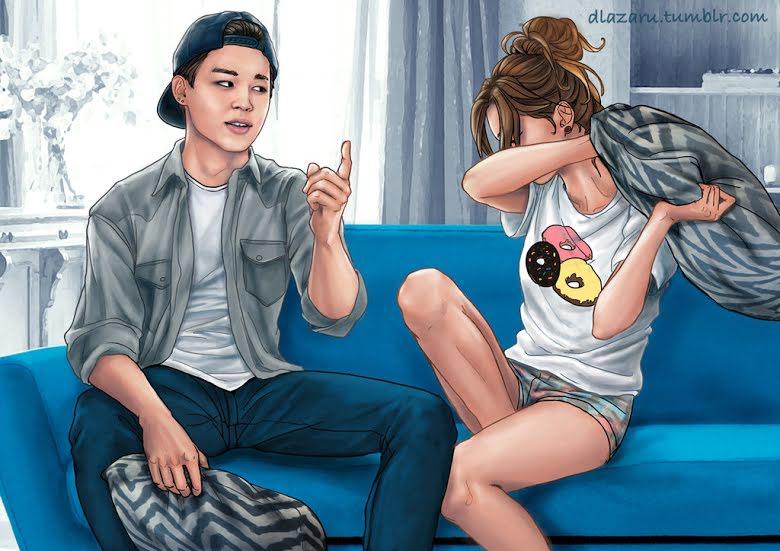 ¿Cómo sería salir con BTS? Parte 2: Este Fan Art muestra como sería tu relación con Jimin, V y Jungkook