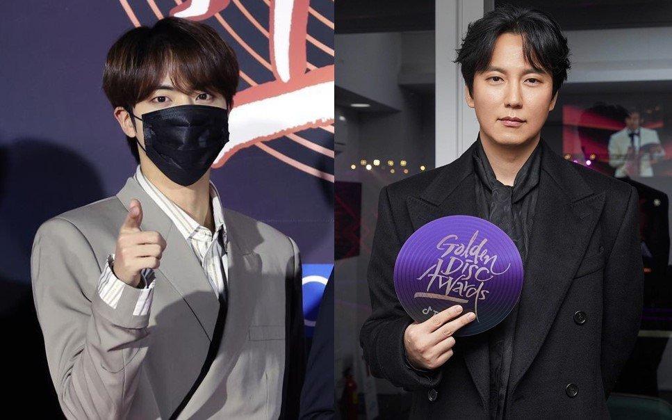 Jin de BTS finalmente conoce a su actor ícono Kim Nam Gil en los GDA de 2021