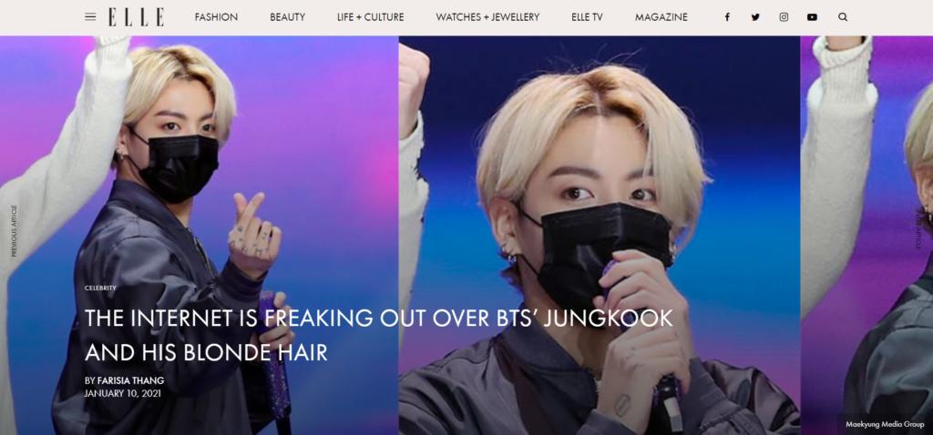 A revista de moda ELLE menciona que a loira Jungkook da BTS conquista a mídia