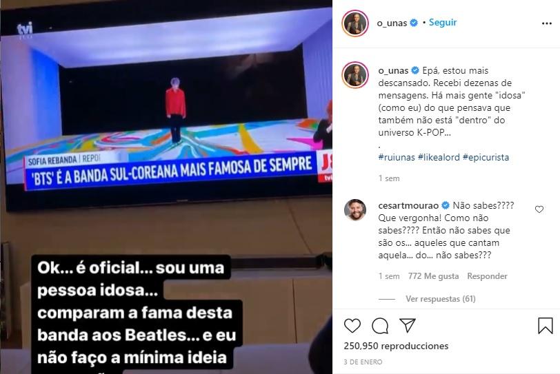 """Comediante de Portugal dice """"¿Quién es BTS?"""" y su comentario genera un gran debate en Corea"""