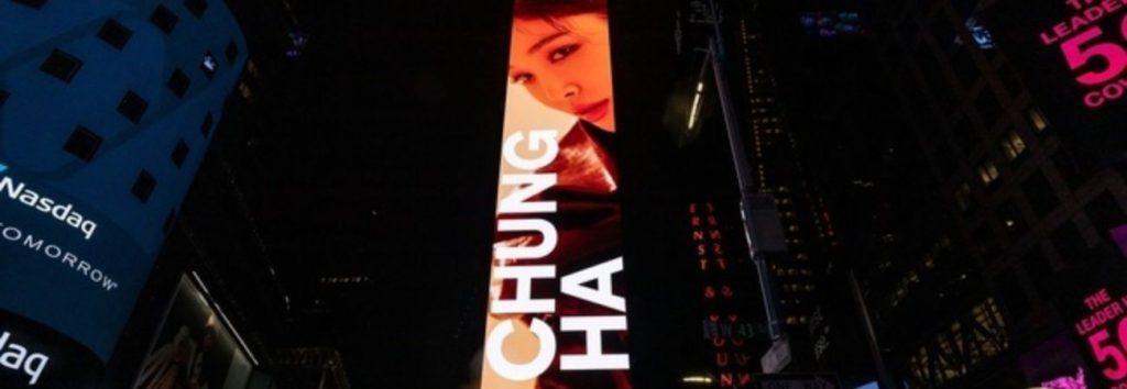 Anuncio del álbum 'Querencia' de Chungha aparece en Times Square en EE. UU.