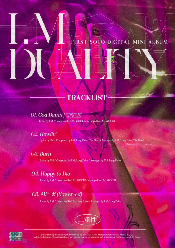 I.M de MONSTA X revela lista de canciones para su debut en solitario con 'DUALITY'