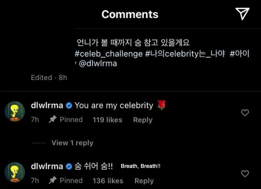 IU comenta personalmente las publicaciones de los fans que hacen el #Celeb_Challenge
