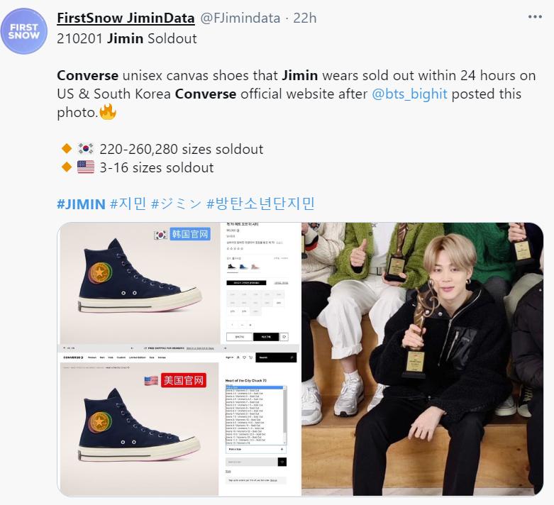 ARMY agota los zapatos converse que usó Jimin de BTS en una reciente foto de Twitter