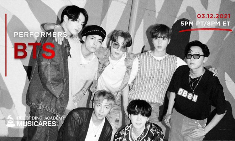 BTS participara en el concierto de benéfico virtual Music On A Mission para los Grammy