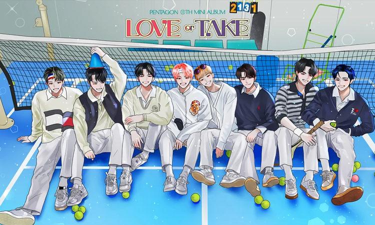 PENTAGON se divierte al jugar tenis en sus personajes de webtoon para Love or Take
