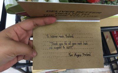 Tarjeta de agradecimiento de Ahgase Tailandia