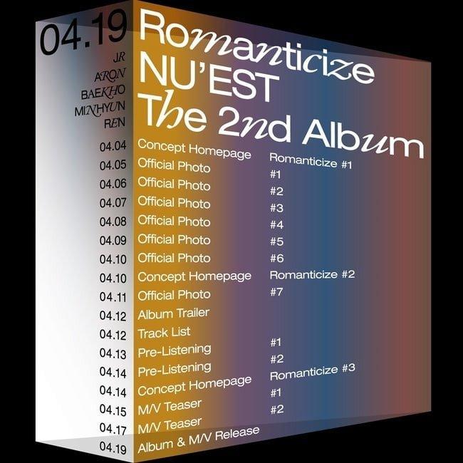 NU'EST presenta su calendario de regreso para 'Romanticize'