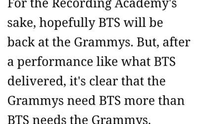 Revista Esquire dice que BTS en los Grammy es prueba de que ellos son más grandes que un trofeo