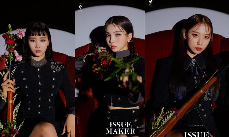 Yewon, Yebin y Dain de HOT ISSUE muestran su visual para sus fotos de ISSUE MAKER