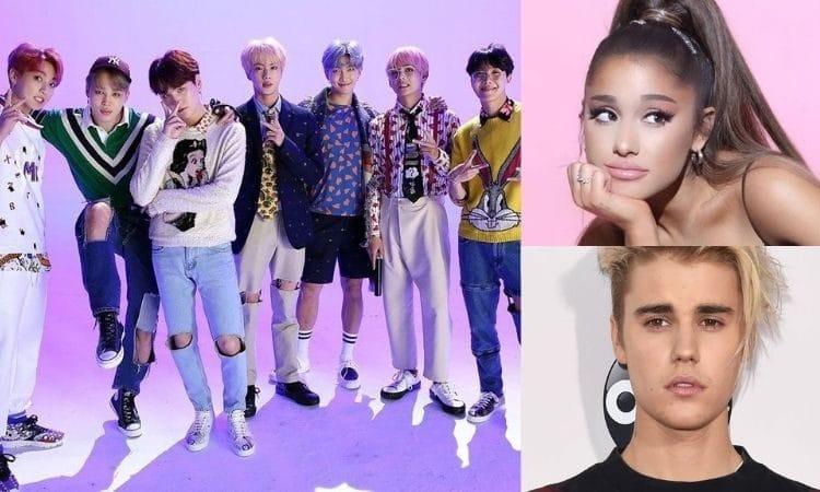 BTS, Ariana Grande y Justin Bieber