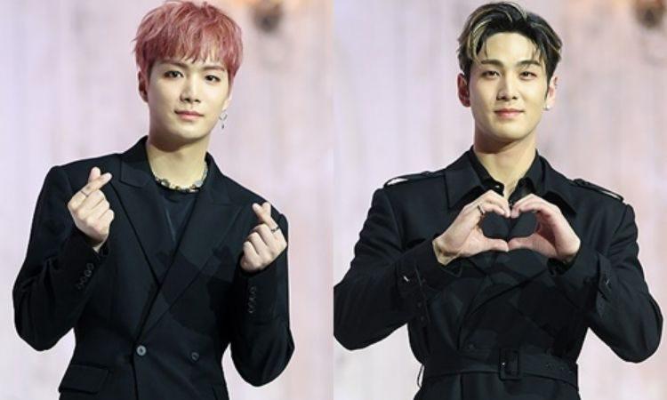 JR y Baekho de NU'EST en conferencia de prensa para Romanticize