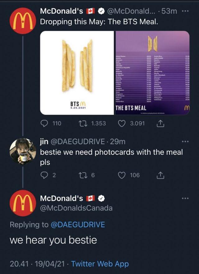 McDonald's Canada podría haber dado spoiler sobre el BTS Meal