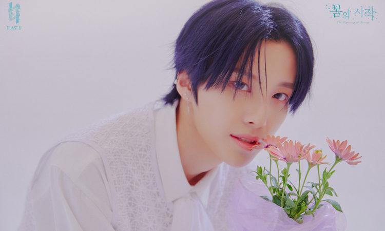 Choi In de E'LAST U es comparado con una flor en sus fotos concepto para The beginning of spring