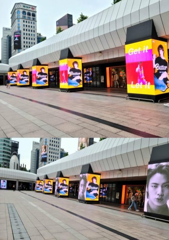 Pantallas LED con el anuncio de Jin