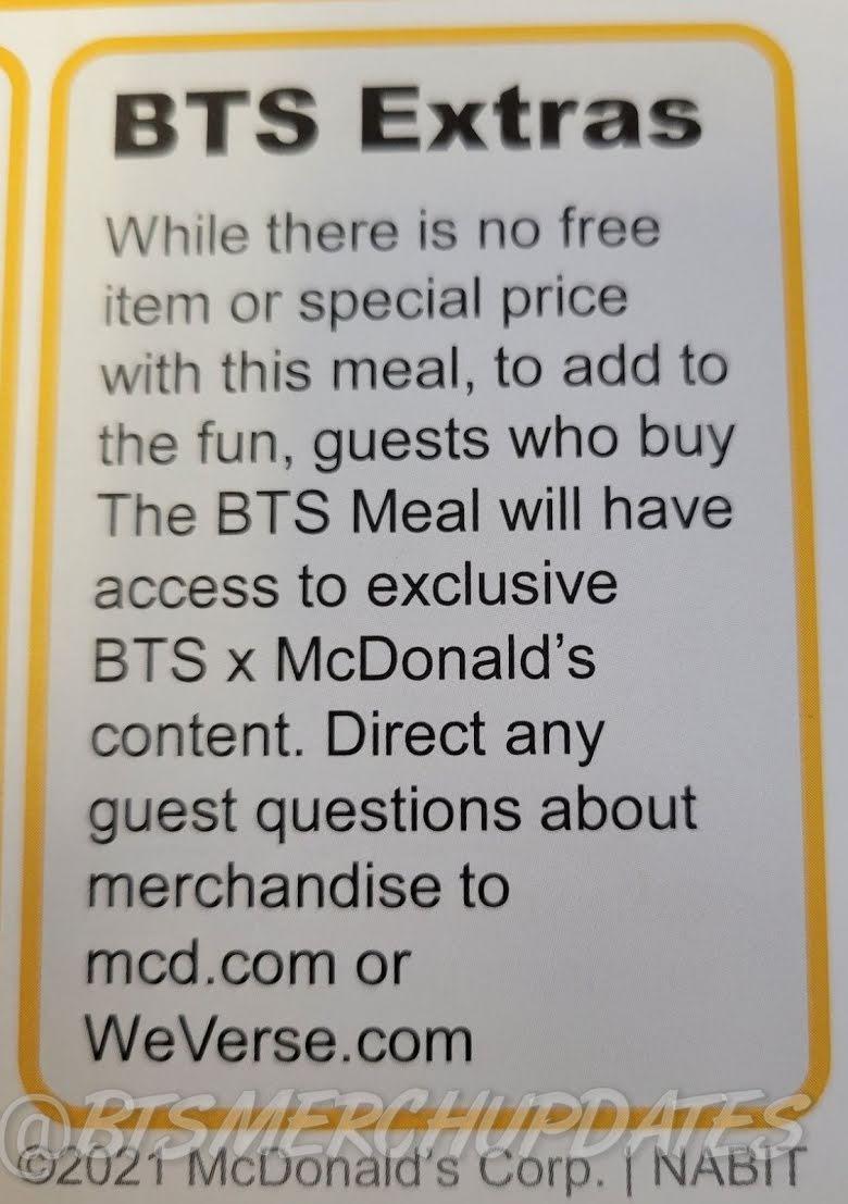 El 'BTS Meal' no incluiría photocards pero sí esto