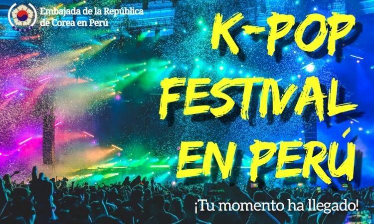 Póster de convocatoria al Festival de K-pop en Perú 2021