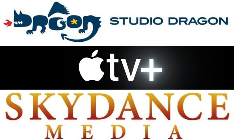 Logos de Studio Dragon, Apple TV+ y Sky Dance Media