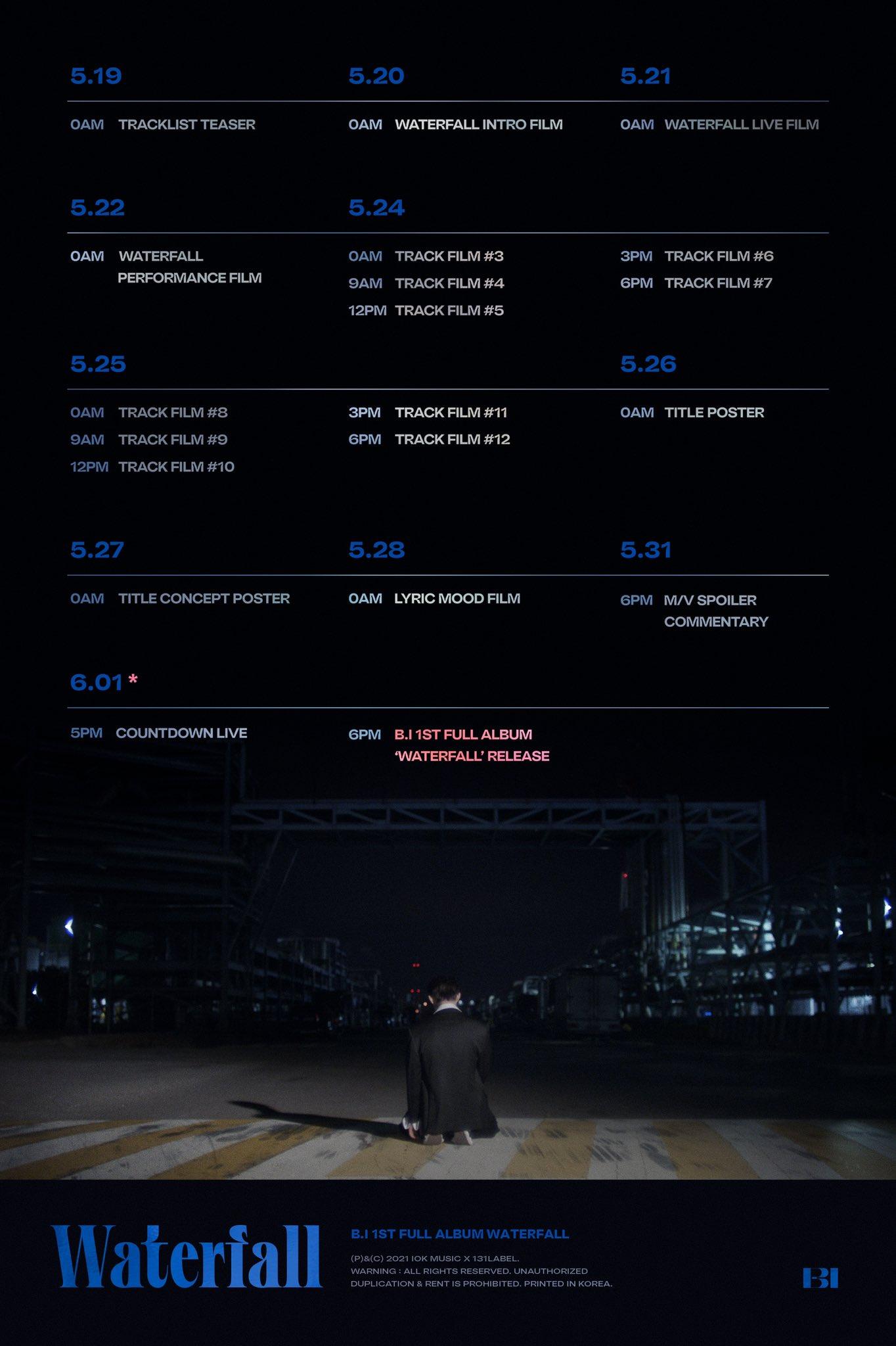 B.I comparte calendario de promoción su primer álbum completo 'Waterfall'