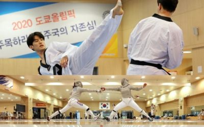 Atletas de taekwondo y esgrima practican para los Juegos Olímpicos