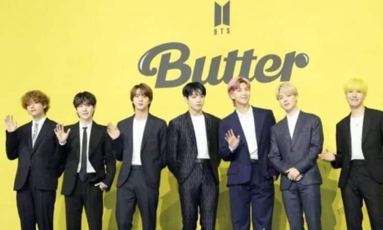 BTS presentando Butter en conferencia de prensa