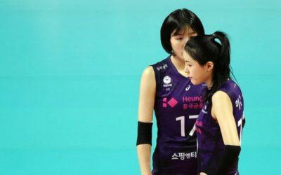 Gemelas Lee en partido de voleibol